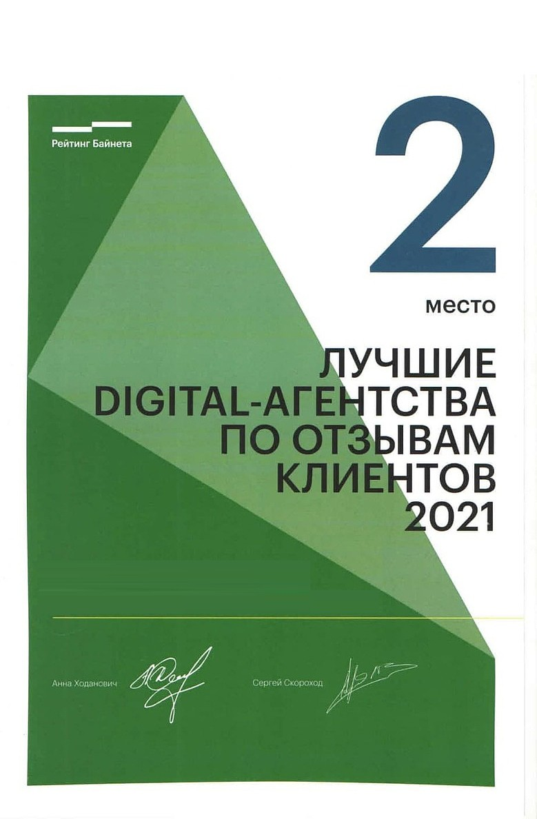 <b>2-ое</b> место Digital-агентства по отзывам клиентов